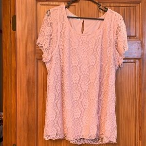 Pink lace, shear sleeve blouse